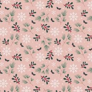 Sweet boho Christmas garden botanical elements mistletoe and pine needles snowflake night green red on moody pink rose SMALL