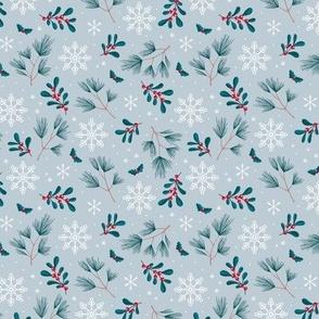 Sweet boho Christmas garden botanical elements mistletoe and pine needles snowflake night blue emerald red on soft gray blue SMALL