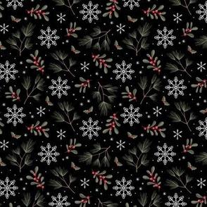 Sweet boho Christmas garden botanical elements mistletoe and pine needles snowflake night red olive green on black SMALL