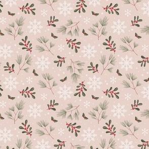 Sweet boho Christmas garden botanical elements mistletoe and pine needles snowflake night red olive green on beige sand SMALL