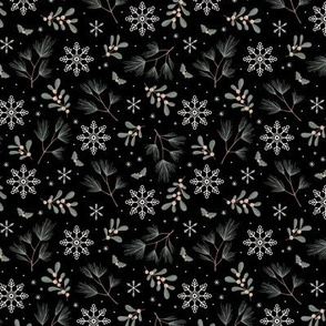 Sweet boho Christmas garden botanical elements mistletoe and pine needles snowflake night soft olive sage green on black SMALL