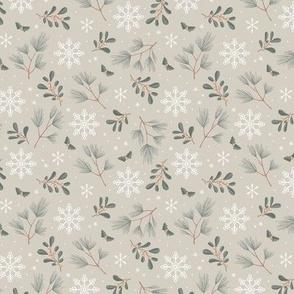 Sweet boho Christmas garden botanical elements mistletoe and pine needles snowflake night soft olive sage blush on mist green