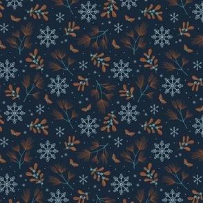 Sweet boho Christmas garden botanical elements mistletoe and pine needles snowflake night rust cinnamon copper on navy blue SMALL