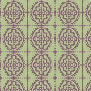 Bumpy Wonky Moroccan Tile (Sage & Plum)
