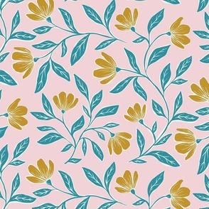 Happy Floral - petal signature coordinate joy - pink, teal, yellow - medium