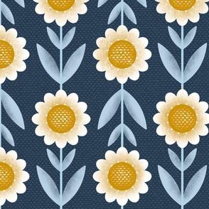Joyful Daisies - petal solids coordinate, joy coordinate, lagoon, mustard and cotton candy on dark grey