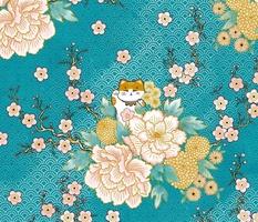 """Happy Neko Blooms (lagoon) 24"""" // Japanese lucky cat"""