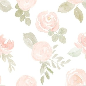 Blush Pink Waterccolor Flowers LARGE