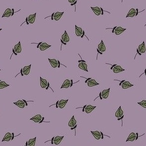 Scattered Leaves on Lilac Background