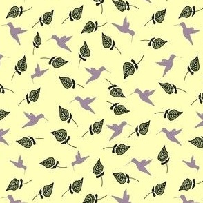 Tiny Hummingbirds on yellow with green leaves