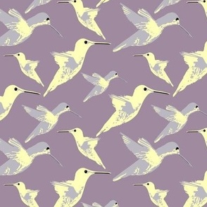 Hummingbirds in Yellow and Lilac