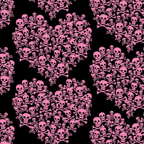 Skull Heart Large Pink On Black