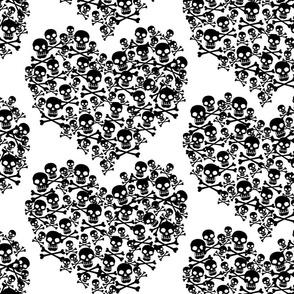 Skull Heart Large Black On White