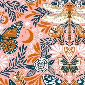 maximalist magic butterflies - salmon, burnt orange, & ocean