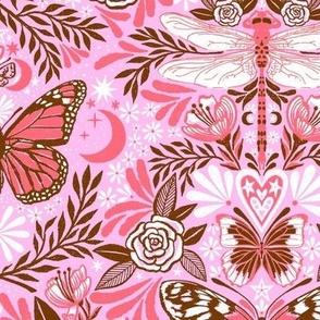 maximalist magic butterflies - lavender, coral, brown