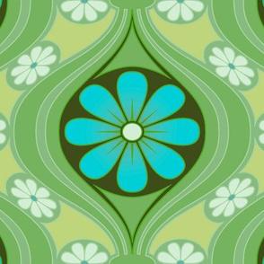 Retro Daisy in Sea of Green