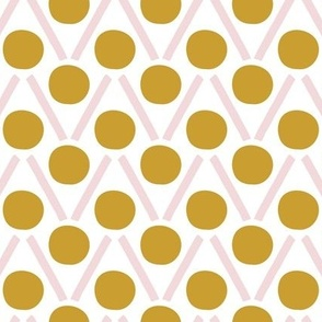 Petal Dancing Dots Mustard / Pink