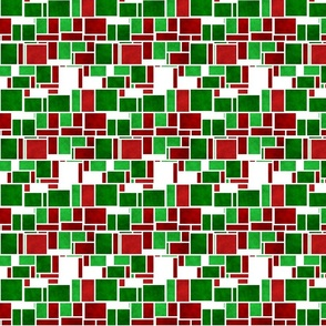 Groovy Mod Retro Bold Red and Green Christmas Mondrian