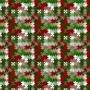 Groovy Whimsical Retro Funky Bold Red and Green Christmas Puzzle