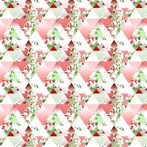 Retro Groovy Geometric Boho Bold Red and Green Christmas Triangles