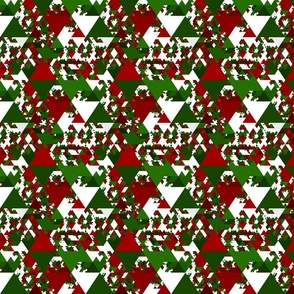 Modern Funky Geometric Red and Green Christmas Triangles