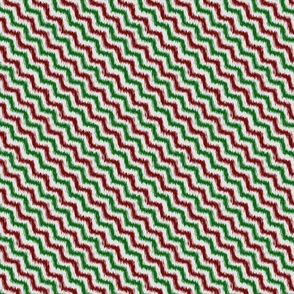 Grungy Wavy Red and Green Christmas Stripes