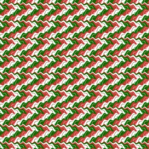 Psychedelic Funky Bold Red and Green Squiggly Christmas Wavy Stripes