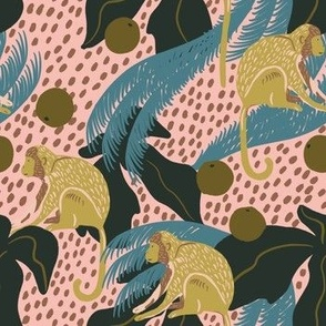 Monkeys in the Jungle on Pink