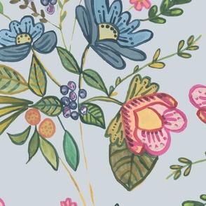 large folk florals botanical folklore