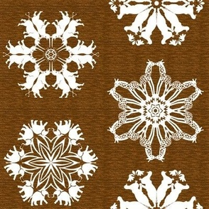 African Rhino Hippo Elephant and Giraffe Snowflakes on Visually Textured Brown