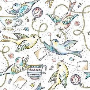 Twittering Tea Party - Watercolor Birds