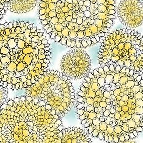 Delightful Doilies - Feminine Lace Yellow & Blue