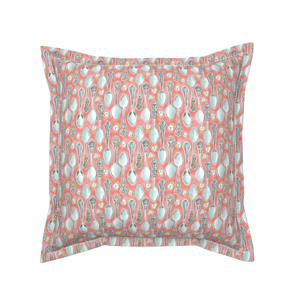 Serama Throw Pillow featuring Spoonful of Sugar - Watercolor Kitchen Pink by heatherdutton