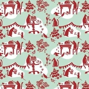 Kitty Cat's Holiday Traditions Toile