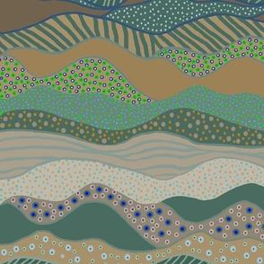 Calm Landscape - 12108941 - Mushroom 9D8C71 Pine 496B60 Sky Blue A7C0DA