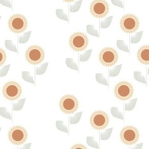 The Modern Sunflower garden botanical fall design with flowers and leaves neutral mist green on white