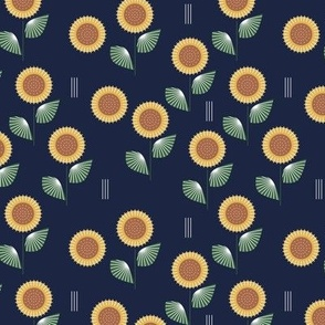 The Modern Sunflower garden botanical fall design with flowers and leaves green navy blue SMALL