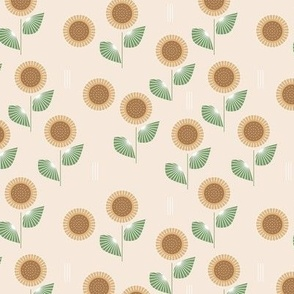 The Modern Sunflower garden botanical fall design with flowers and leaves green on beige SMALL