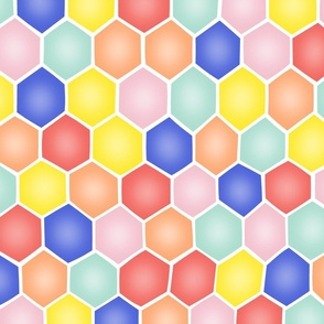 Summery Hexagons - ROTATED/LARGE