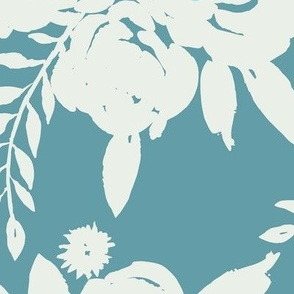 Rose Bouquet White Outline - Blue