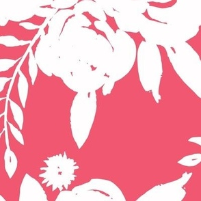 Rose Bouquet White Outline - Red Pink