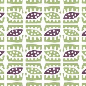 Dotty Spiky Pod 2 (plum & sage)