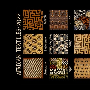 African Textiles Faux Calendar - 2022 Tribal Tea Towel Calendar