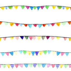watercolor flags - birthday party banner - bunting decoration for celebration - bunt fun i831-1