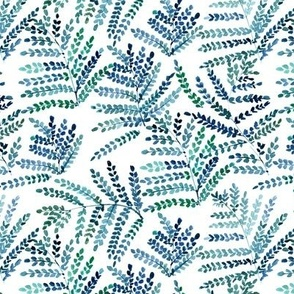 enchanting fern - watercolor small leaves - natural tropical plants - greenery foliage a550-2