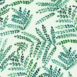Kelly green enchanting fern - watercolor small leaves - natural tropical plants - greenery foliage a550-8