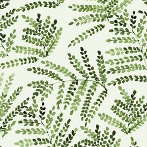 enchanting fern - watercolor small leaves - natural tropical plants - greenery foliage a550-11