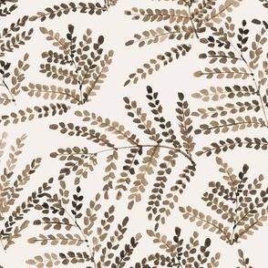 Earthy boho enchanting fern - watercolor small leaves - natural tropical plants - greenery foliage a550-13