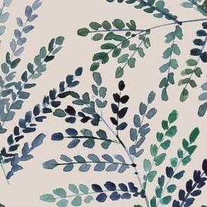 Indigo on cream enchanting fern - watercolor small leaves - natural tropical plants - greenery foliage a550-15