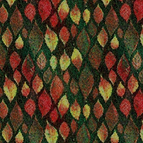 medium knit autumn leaves green teal pink PSMGE